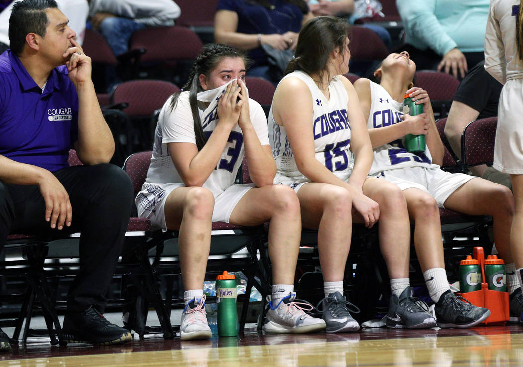 Spanish Springs' Mariah Barraza (33) cries on the sideline during the first half of a Class 4A state girls basketball semifinal game against Bishop Gorman High School at the Orleans Arena in Las V ...