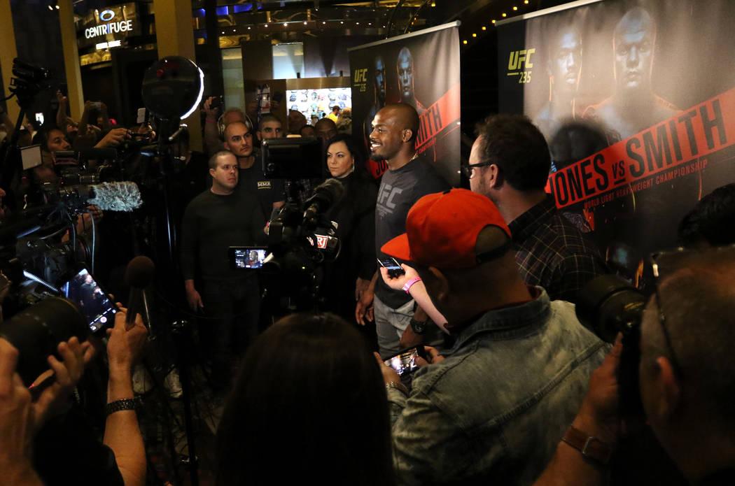 UFC light heavyweight champion Jon Jones smiles during a media scrum at UFC 235 open workouts at the MGM Grand hotel-casino in Las Vegas, Thursday, Feb. 28, 2019. (Heidi Fang /Las Vegas Review-Jou ...
