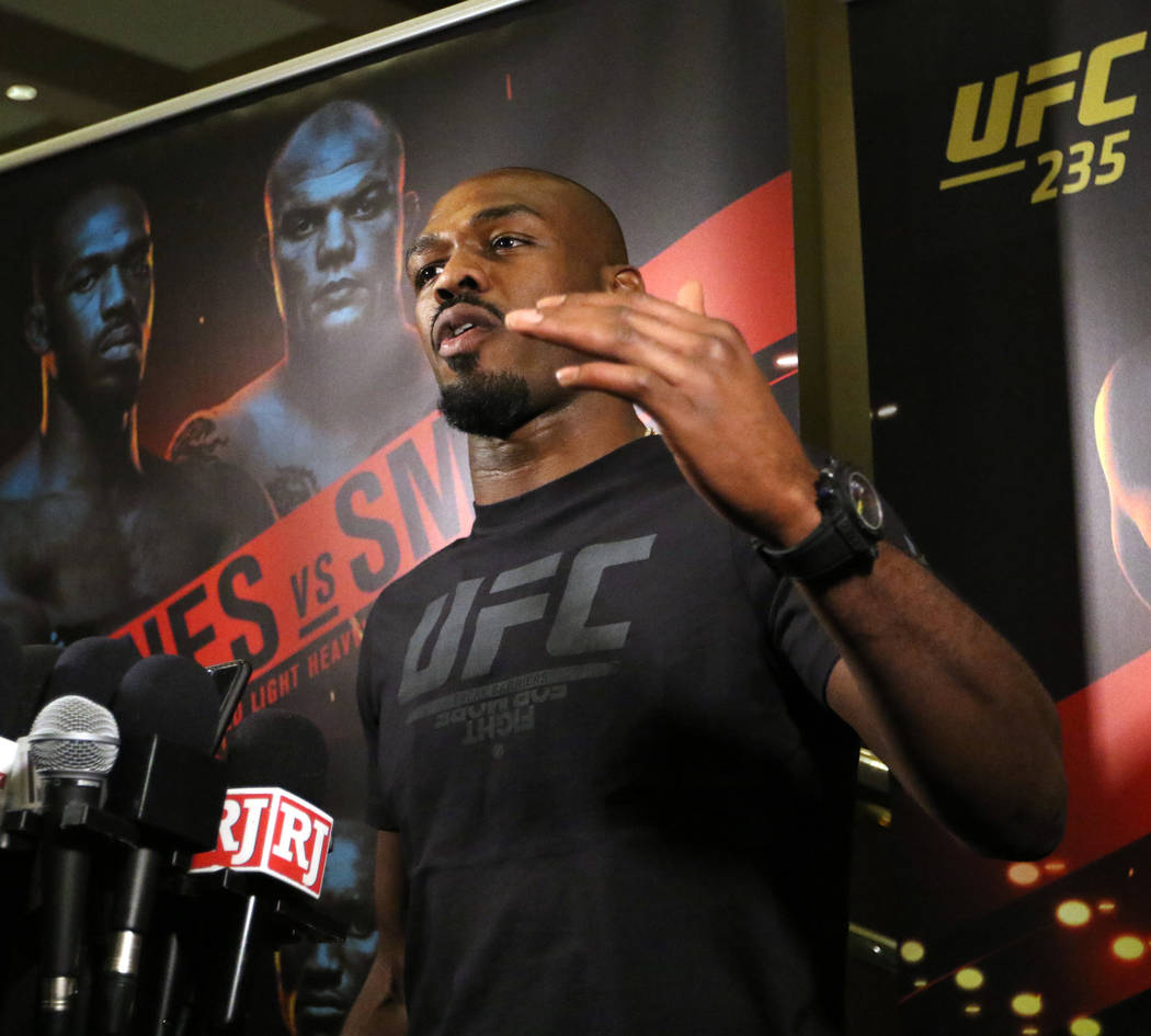 UFC light heavyweight champion Jon Jones answers questions from the media during UFC 235 open workouts at the MGM Grand hotel-casino in Las Vegas, Thursday, Feb. 28, 2019. (Heidi Fang /Las Vegas R ...