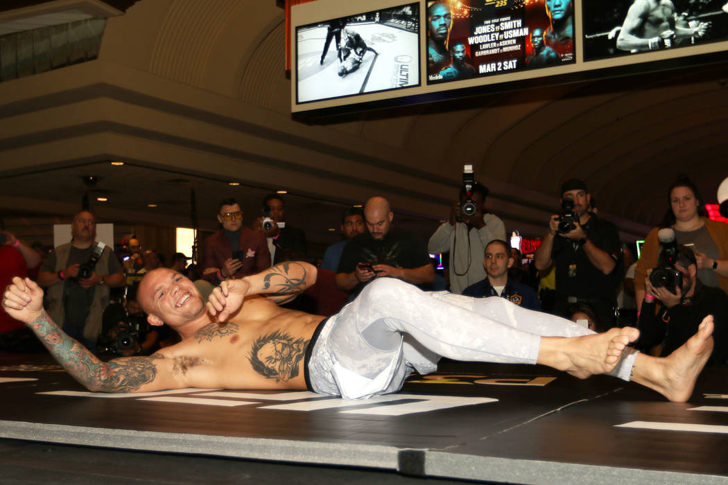 UFC light heavyweight Anthony Smith warms up at UFC 235 open workouts at the MGM Grand hotel-casino in Las Vegas, Thursday, Feb. 28, 2019. (Heidi Fang /Las Vegas Review-Journal) @HeidiFang