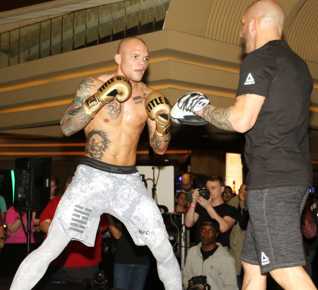 UFC light heavyweight Anthony Smith hits mitts at UFC 235 open workouts at the MGM Grand hotel-casino in Las Vegas, Thursday, Feb. 28, 2019. (Heidi Fang /Las Vegas Review-Journal) @HeidiFang
