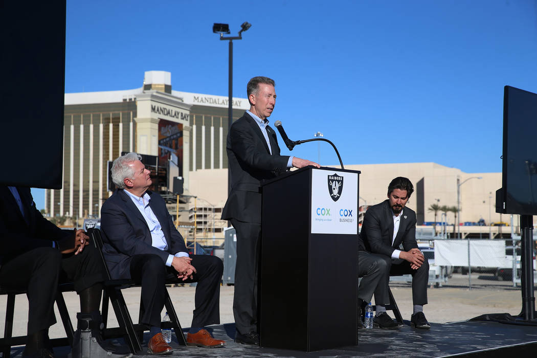 Pat Esser, president of Cox Communications, speaks during a press conference at the Raiders stadium construction site in Las Vegas, Thursday, Feb. 28, 2019. Cox Communications is becoming a foundi ...