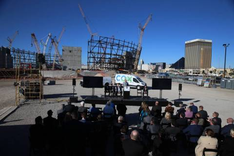 Raiders president Marc Badain speaks during a press conference at the Raiders stadium construction site in Las Vegas, Thursday, Feb. 28, 2019. Cox Communications is becoming a founding partner of ...