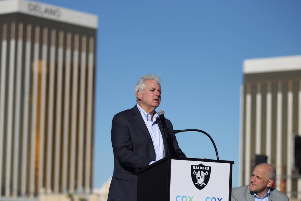 Mike Bolognini, market vice president for Cox Communications Las Vegas, speaks during a press conference at the Raiders stadium construction site in Las Vegas, Thursday, Feb. 28, 2019. Cox Communi ...