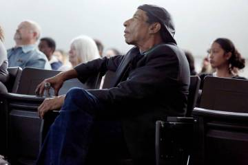 """Local filmmaker Stan Armstrong who graduated in 1972 from Rancho High School, watches his documentary film, """" The Rancho High School Riots,"""" with students and guests at Rancho High Sch ..."""
