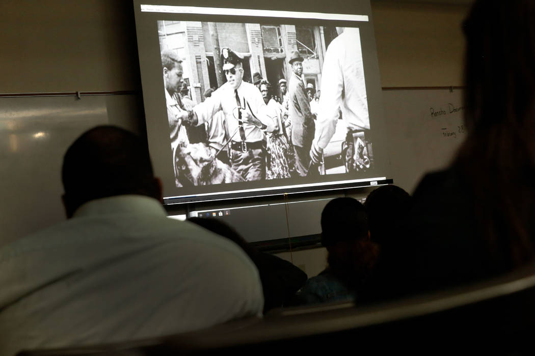 "Rancho High School students and guests watch "" The Rancho High School Riots,Ӡa documentary film by local filmmaker Stan Armstrong, at Rancho High School in North Las Vegas, Thursday, Fe ..."