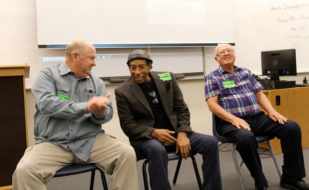 Local filmmaker Stan Armstrong, center, who graduated in 1972 from Rancho High School, takes questions along with former Rancho students, Terry Davis, left, and Lefty Mott, right, both class of 19 ...