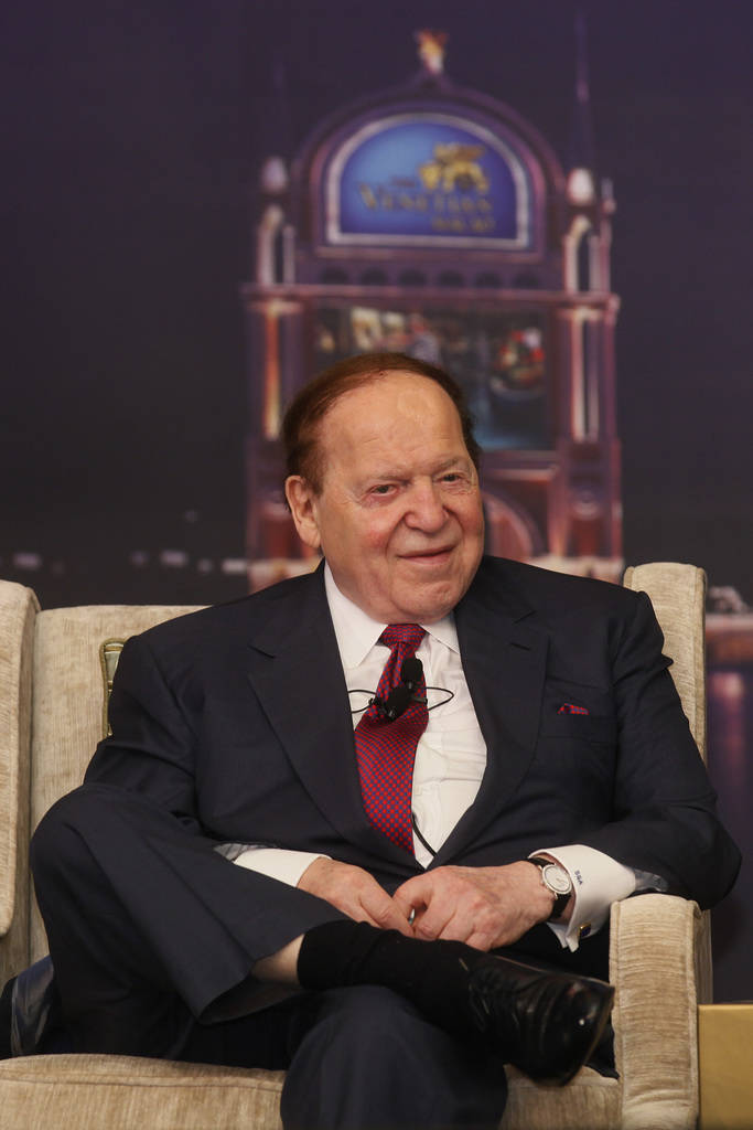 Las Vegas Sands Chairman and CEO Sheldon Adelson speaks at a news conference for the Sands Cotai Central in Macau Wednesday, April 12, 2012. U.S. billionaire Adelson's Macau casino operator launch ...