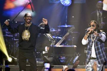 Snoop Dogg, left, and B. Slade perform during the 33rd annual Stellar Gospel Music Awards at the Orleans Arena on March 24, 2018 in Las Vegas, Nevada. (Earl Gibson III/Getty Images)