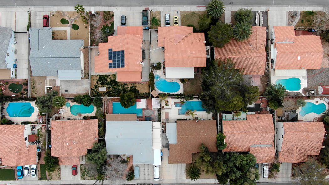 Aerial view of homes with swimming pools near Navarre Lane and Muchacha Drive in Henderson, Nevada on Saturday, February 16, 2019. (Michael Quine/Las Vegas Review-Journal) @Vegas88s