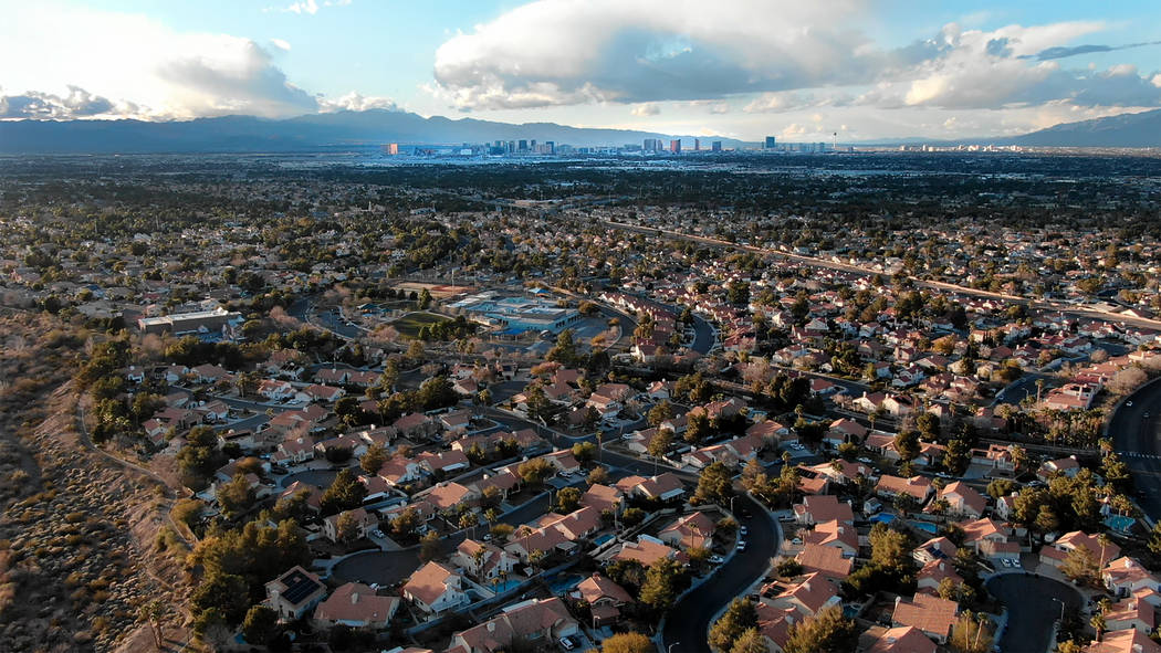 Aerial view of homes near Silver Springs Park in Henderson, Nevada on Saturday, February 16, 2019. (Michael Quine/Las Vegas Review-Journal) @Vegas88s
