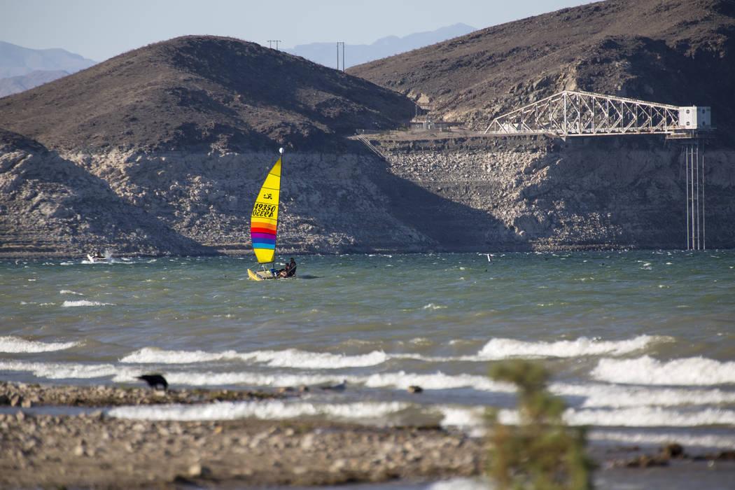 Windsurfers sails the waves near Boulder Beach at Lake Mead National Recreation Area on Sunday, Oct. 14, 2018. Richard Brian Las Vegas Review-Journal @vegasphotograph