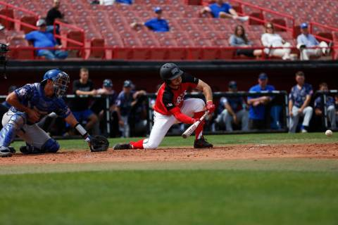 Grant Robbins, shown batting last season, went 3-for-5 with an RBI and scored the decisive run in UNLV's 4-3, 10-inning win at Fresno State on Friday. (Andrea Cornejo/Las Vegas Review-Journal @dre ...
