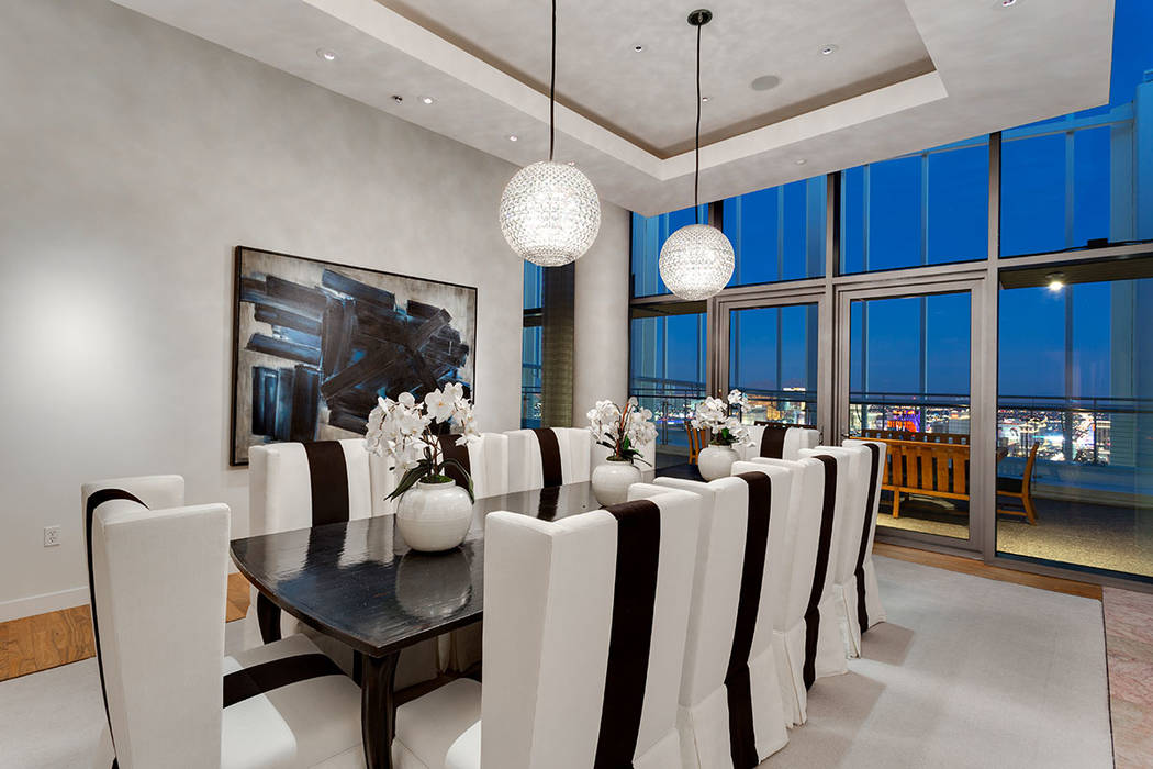 The dining room has views of the Strip. (Ivan Sher Group)