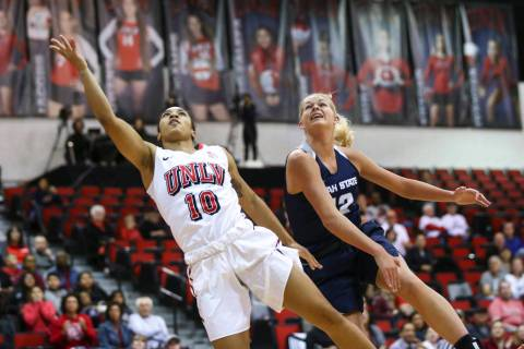 UNLV guard Nikki Wheatley (10), shown last season, scored 19 points in the Lady Rebels' 60-45 victory over Colorado State on Thursday in both teams' regular-season finale. (Chase Stevens Las Vegas ...