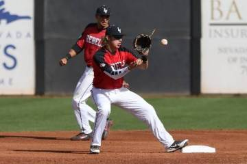 UNLV shortstop Bryson Stott, shown covering second base in May, drew five walks — four intentional — in the Rebels' 3-2, 15-inning win over Bradley on Friday at Wilson Stadium. (UNLV photo)
