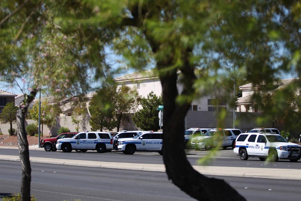 Henderson police investigate after an officer-involved shooting on Gibson Road near Trail Canyon Road, Saturday, Sept. 22, 2018. (Erik Verduzco/Las Vegas Review-Journal) @Erik_Verduzco