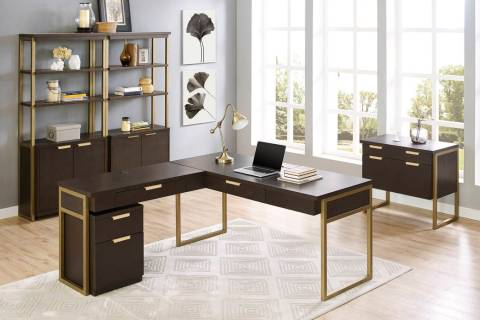 The Axis office collection is an interpretation of classic contemporary design, mixing hand-applied dark mocha finish with warm bronze tones. The cantilevered cases extend beyond the metal framewo ...