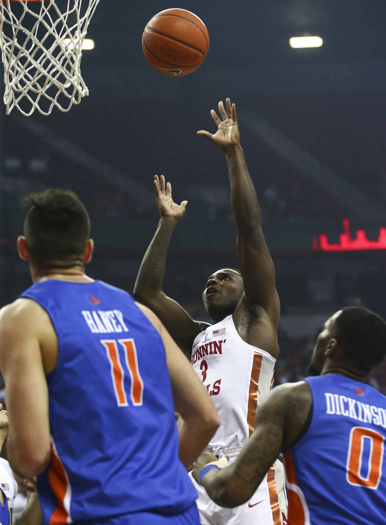 UNLV Rebels guard Amauri Hardy (3) shoots against Boise State during the first half of a basketball game at the Thomas & Mack Center in Las Vegas on Saturday, March 2, 2019. (Chase Stevens/Las ...