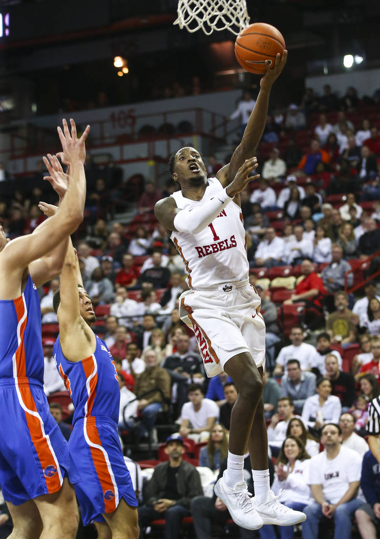 UNLV Rebels guard Kris Clyburn (1) goes to the basket against the Boise State Broncos during the second half of a basketball game at the Thomas & Mack Center in Las Vegas on Saturday, March 2, ...