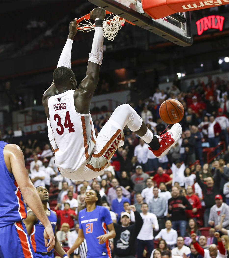 UNLV Rebels forward Cheikh Mbacke Diong (34) dunks against Boise State during overtime in a basketball game at the Thomas & Mack Center in Las Vegas on Saturday, March 2, 2019. (Chase Stevens/ ...