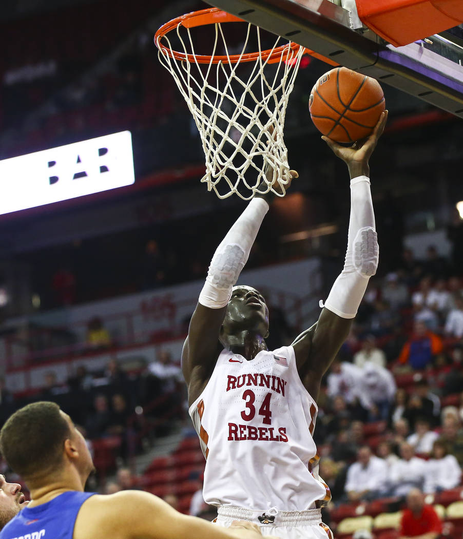 UNLV Rebels forward Cheikh Mbacke Diong (34) goes to the basket against Boise State during overtime in a basketball game at the Thomas & Mack Center in Las Vegas on Saturday, March 2, 2019. (C ...