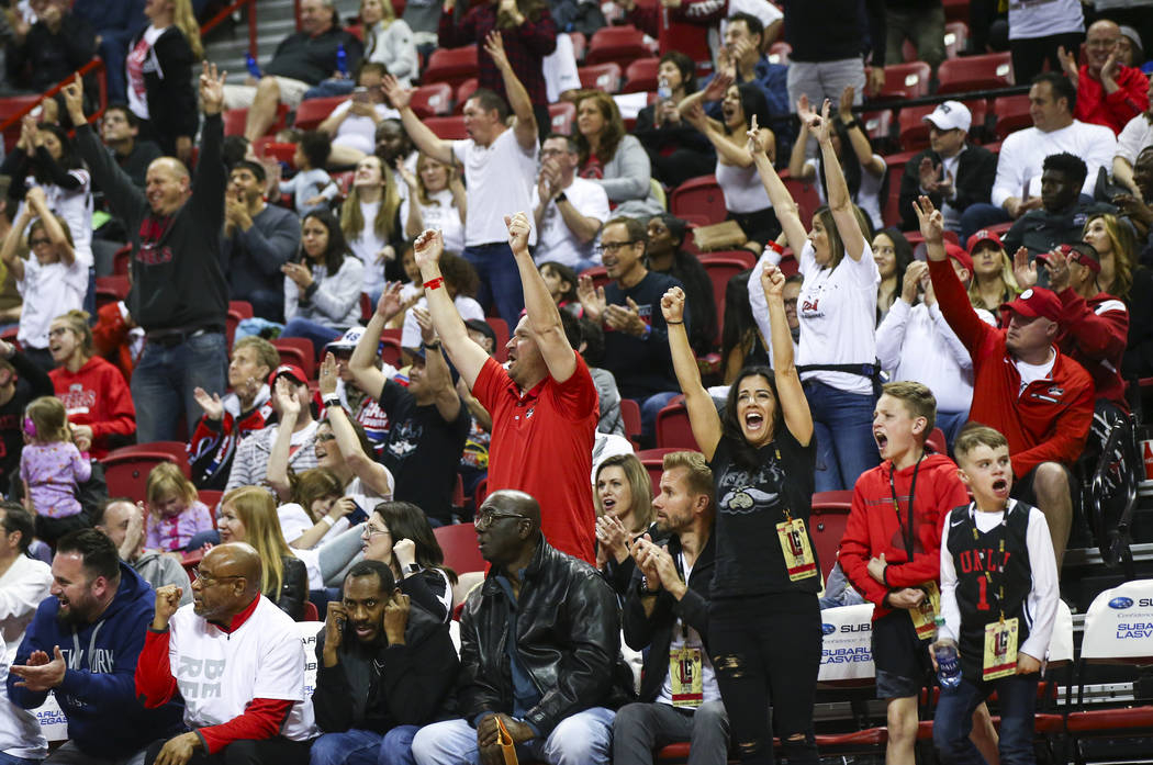 UNLV Rebels fans cheer during the second half of a basketball game against the Boise State Broncos at the Thomas & Mack Center in Las Vegas on Saturday, March 2, 2019. (Chase Stevens/Las Vegas ...