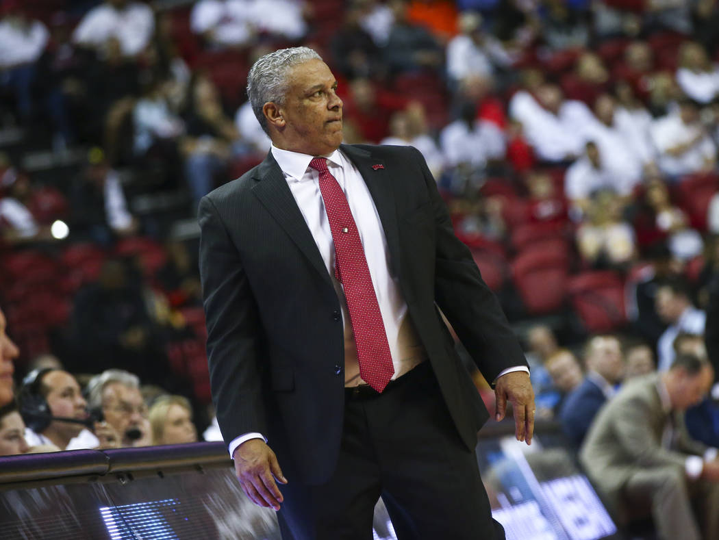 UNLV Rebels head coach Marvin Menzies looks on during the second half of a basketball game against Boise State at the Thomas & Mack Center in Las Vegas on Saturday, March 2, 2019. (Chase Steve ...