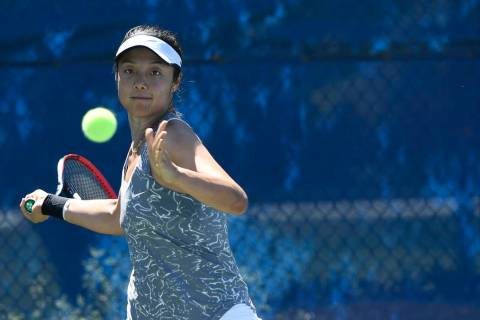 UNLV senior Aiwen Zhu, shown last season, won in singles and was part of a doubles victory Thursday in the Rebels' 4-2 loss to No. 35-ranked Columbia. (Tim Nwachukwu/NCAA)