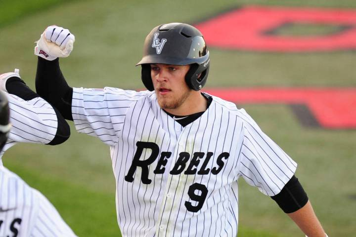 Max Smith, shown in 2016, went 3-for-3 with two home runs and five RBIs for UNLV in its 8-5 win over UNR on Saturday at Wilson Stadium. (Josh Holmberg/Las Vegas Review-Journal)