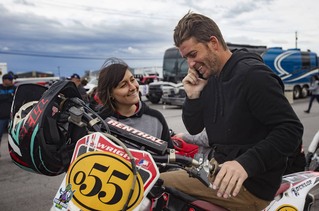 Angie Wright waits with her boyfriend Derek Stephens before the Mint 400 parade in Las Vegas, Wednesday, March 6, 2019. Wright will be competing in the amateur ironman class. (Rachel Aston/Las Veg ...