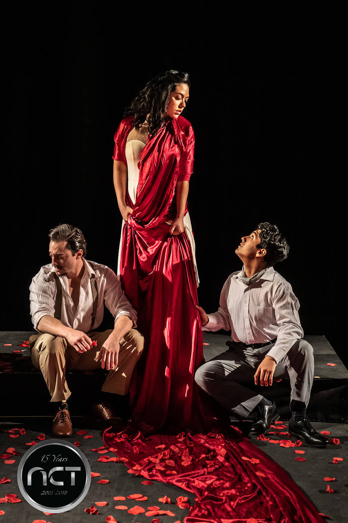"Jacob Sidhom as the Groom, Amanda Guardado as the Bride, and Alexander Vincent Sireci as Leonardo in NCT's ""Blood Wedding."" (Richard Brusky)"