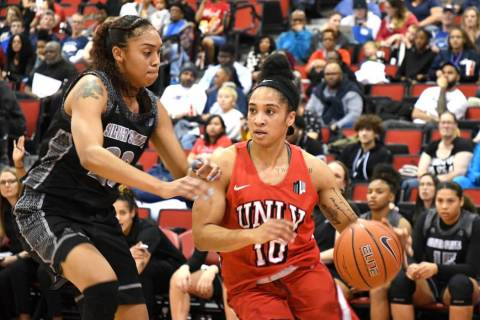 UNLV point guard Nikki Wheatley drives against UNR on Feb. 27 at Cox Pavilion. Photo by Mark Newman.