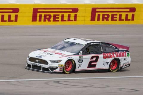Brad Keselowski (2) makes a practice run on Saturday, March 2, 2019, at Las Vegas Motor Speedway, in Las Vegas. (Benjamin Hager Review-Journal) @BenjaminHphoto