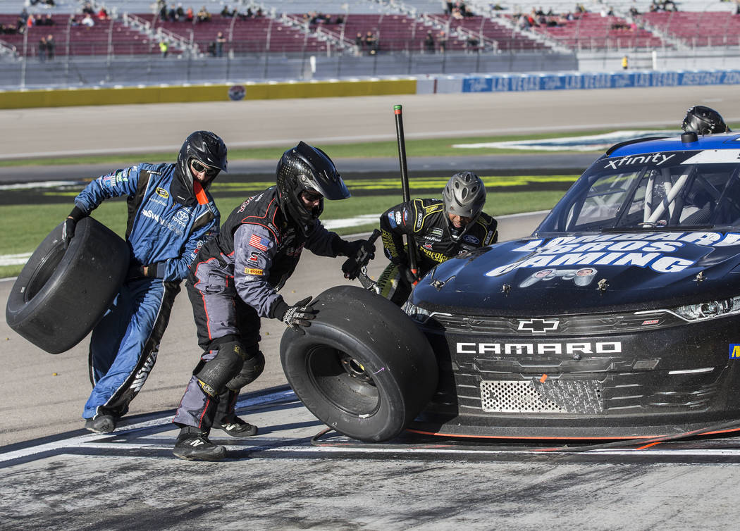 Driver Ryan Sieg's pit crew works on his 39 car during the NASCAR Xfinity Series Boyd Gaming 300 on Saturday, March 2, 2019, at Las Vegas Motor Speedway, in Las Vegas. (Benjamin Hager Review-Journ ...