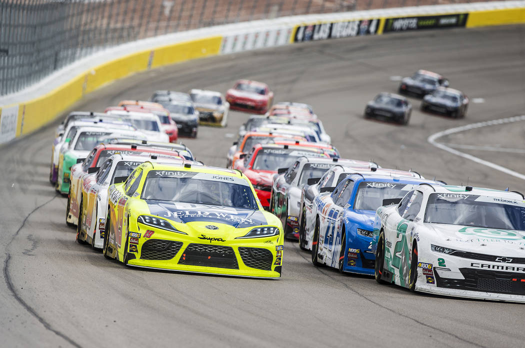 Drivers race around turn one during the NASCAR Xfinity Series Boyd Gaming 300 on Saturday, March 2, 2019, at Las Vegas Motor Speedway, in Las Vegas. (Benjamin Hager Review-Journal) @BenjaminHphoto