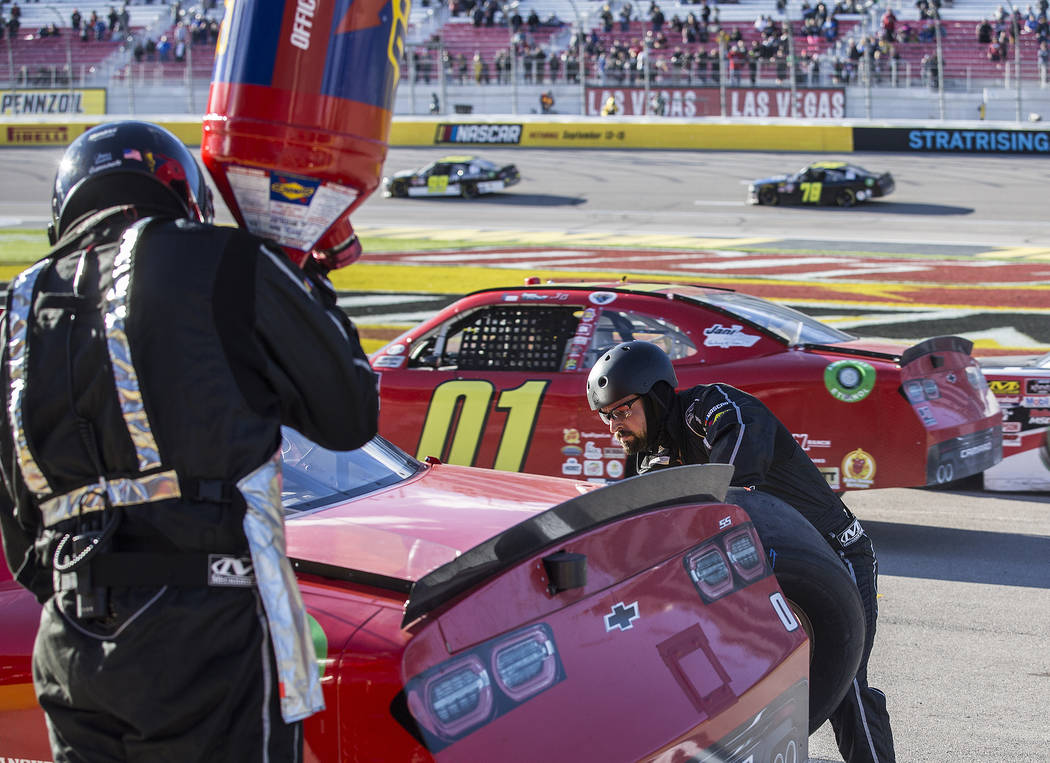 Garrett Smithley's pit crew works on his 0 car during the NASCAR Xfinity Series Boyd Gaming 300 on Saturday, March 2, 2019, at Las Vegas Motor Speedway, in Las Vegas. (Benjamin Hager Review-Journa ...