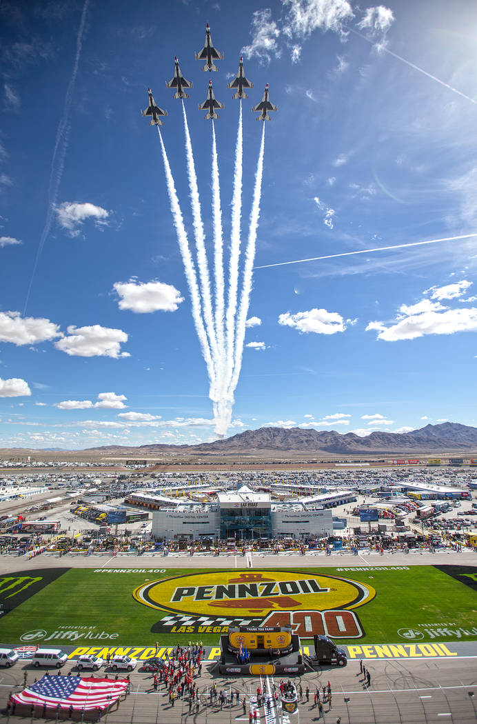The United States Air Force Thunderbirds fly over Las Vegas Motor Speedway before the start of the Monster Energy NASCAR Cup Series Pennzoil 400 on Sunday, March 3, 2019, in Las Vegas. (Benjamin H ...