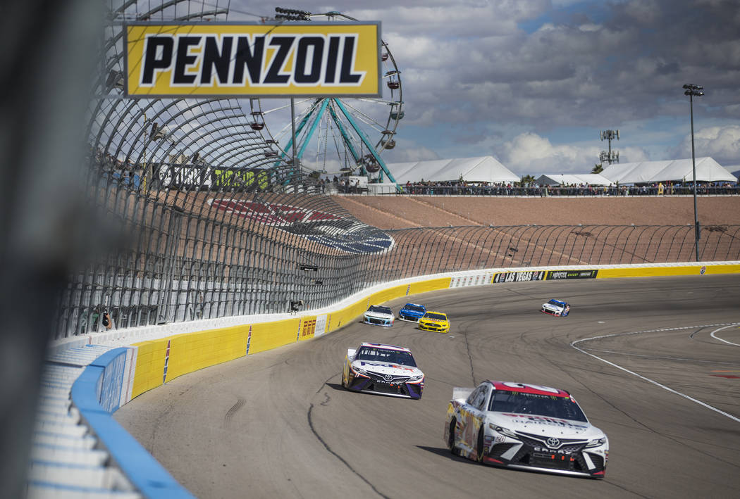 Erik Jones (20) leads a pack of racers during the Monster Energy NASCAR Cup Series Pennzoil 400 on Sunday, March 3, 2019, at Las Vegas Motor Speedway, in Las Vegas. (Benjamin Hager Review-Journal) ...
