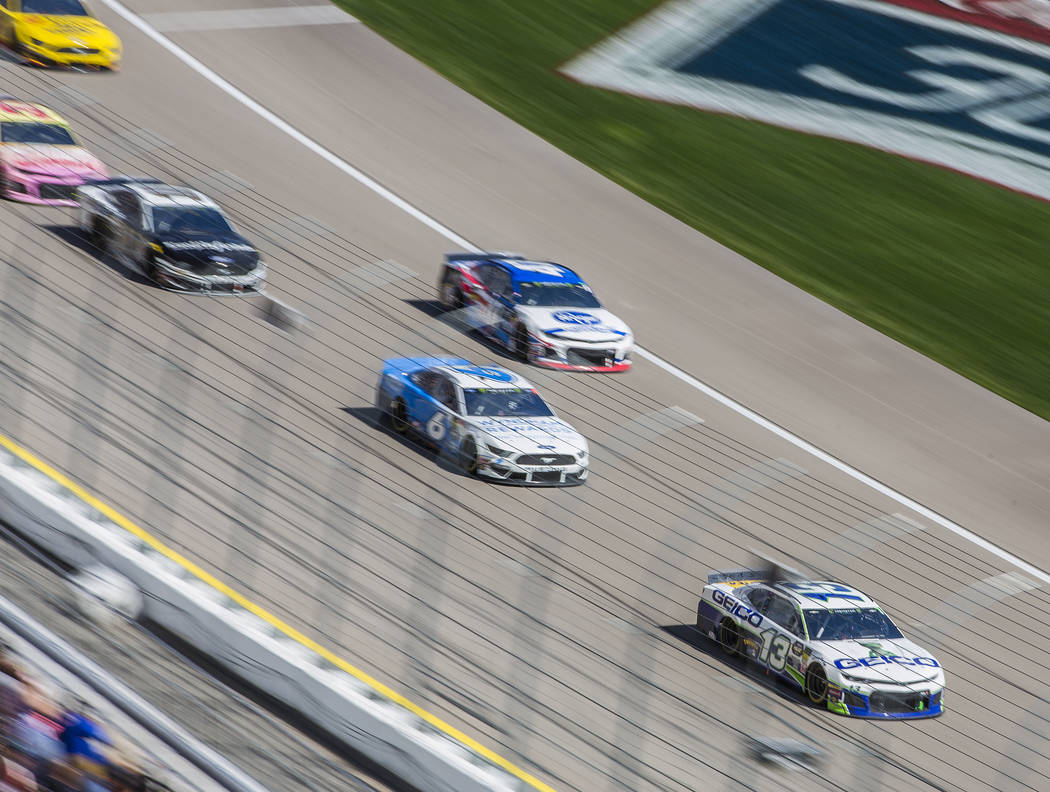 Ty Dillon (13) leads a pack of racers during the Monster Energy NASCAR Cup Series Pennzoil 400 on Sunday, March 3, 2019, at Las Vegas Motor Speedway, in Las Vegas. (Benjamin Hager Review-Journal) ...