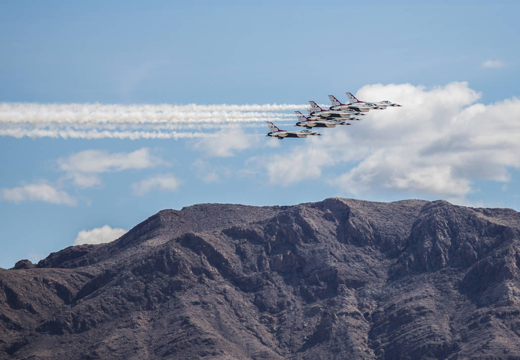 The United States Air Force Thunderbirds prepare to do a flyover at Las Vegas Motor Speedway before the start of the Monster Energy NASCAR Cup Series Pennzoil 400 on Sunday, March 3, 2019, in Las ...