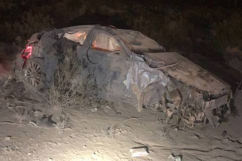 A man and woman died on July 27, 2018, after the car they were in was involved in a rollover crash on Interstate 15 near Primm. Las Vegas police found about $26,000 in a duffel bag near the man's ...