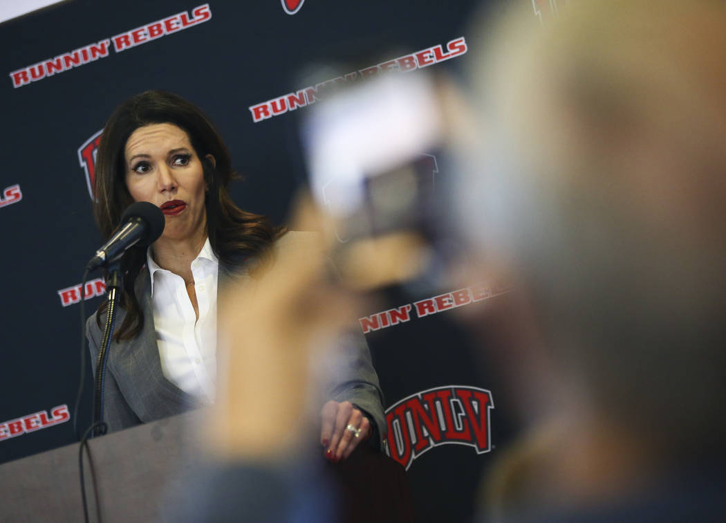 UNLV athletic director Desiree Reed-Francois talks about the search for a new basketball head coach in Las Vegas on Friday, March 15, 2019. Marvin Menzies, who led the program for three years, was ...