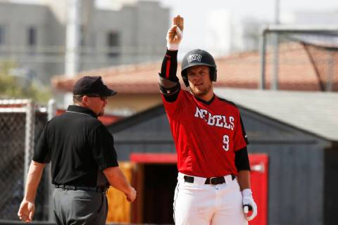 Max Smith, shown last season, went 3-for-5 with a home run and four RBIs to lead UNLV past UC R ...