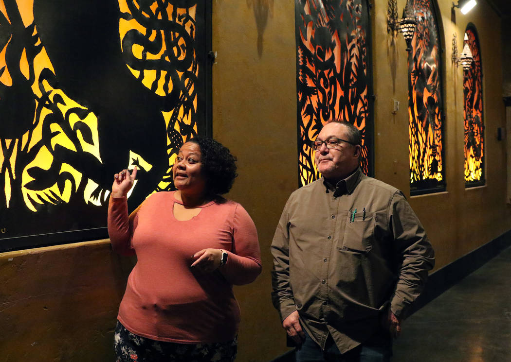 Sasha Rincon-Camacho, regional marketing director for House of Blues, speaks while leading a tour of the House of Blues at Mandalay Bay hotel-casino with as John Durfee, facility director, Live Na ...