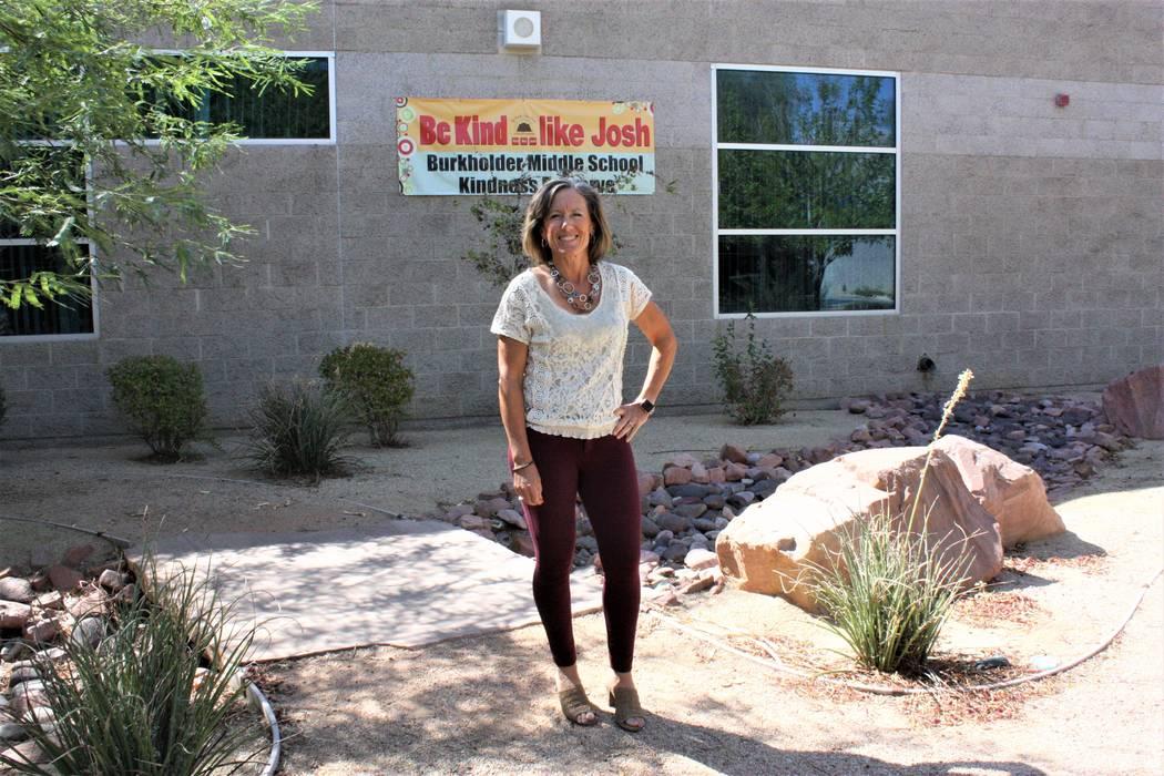 Julia Bush, a school counselor at Burkholder Middle School, poses on campus in Henderson. (Rachel Spacek/Las Vegas Review-Journal @RachelSpacek)