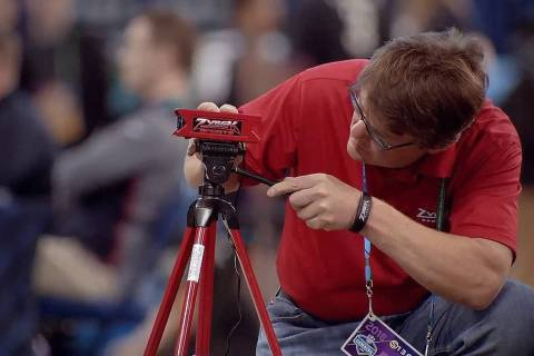 Mike Weinstein, CEO and founder of Zybek Sports, in its ninth year providing electronic timing for the 40 at the combine. (Zybek Sports)