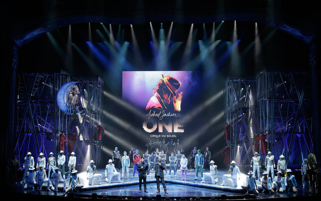 Director of Creation Welby Altidor, center left, and writer and director Jamie King introduce a sneak peek of Michael Jackson ONE by Cirque du Soleil at Mandalay Bay Resort & Casino on May 7, 2013 ...