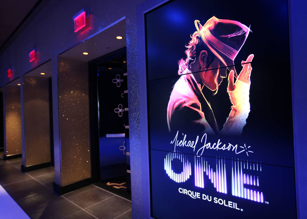 The entry leading into Cirque du Soleil's Michael Jackson One show at Mandalay Bay Resort and Casino is seen in Las Vegas on May 7, 2013. A sneak peek today offered glimpses of the show to media a ...