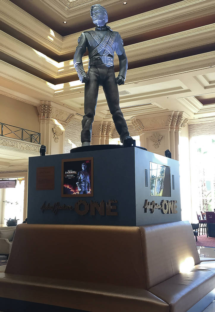 Las Vegas Review-Journal This 10-foot statue of the King of Pop sits in the Mandalay Bay lobby.